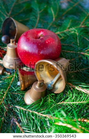 bells,christmas time,marry christmas,candle,needles,red candle,badian,green background,object, - stock photo