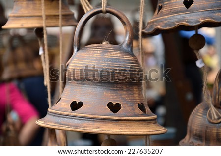 Bells  /  Colorful ceramic bells at the autumn market. - stock photo