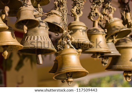Bells of the old temple in Rudraprayag, India. - stock photo