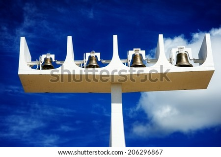 Bells outside the Cathedral of Brasilia, Brazil  - stock photo