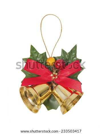 Bells with Christmas decoration isolated on white background - stock photo