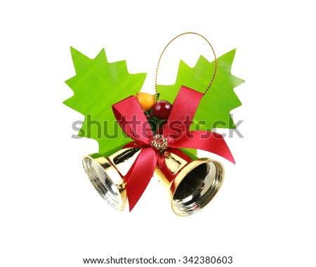 Bells with Christmas decoration isolated on white background. - stock photo