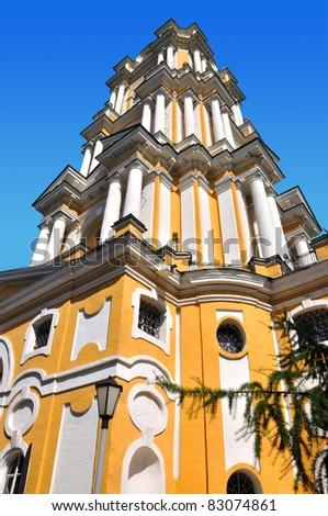 Belltower Novospassky Monastery in Moscow, Russia. - stock photo