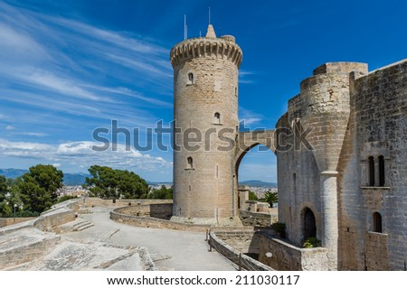 Bellver Castle front tower in Palma-de-Mallorca, Spain - stock photo