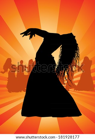 Belly dance silhouette - stock photo