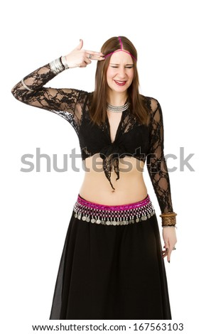 belly dancer suicide mimic - stock photo