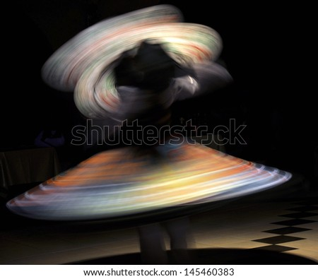 Belly dancer with colorful Fan Veils - stock photo