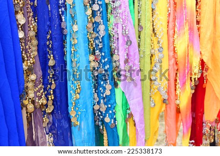 Belly dancers' scarfs - stock photo
