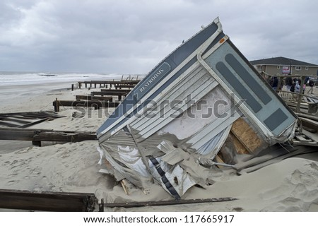 BELMAR, NEW JERSEY/USA - OCTOBER 30: The Devastation along the beach the day after Hurricane Sandy on October 30, 2012 in Belmar New Jersey. - stock photo
