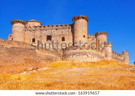 Belmonte castle in Belmonte.  Cuenca, Spain - stock photo