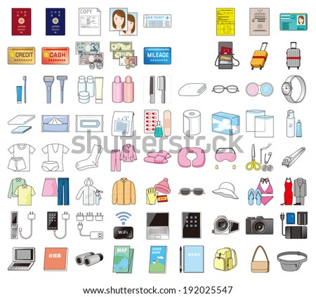 Belongings when the Japanese to travel abroad  - stock photo