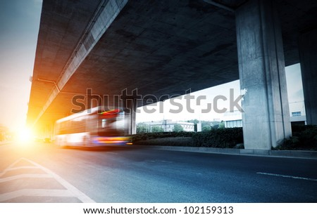 Below the viaduct of the city - stock photo