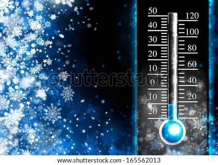 Below zero. Cold thermometer, minus temperature in cold snow winter - stock photo