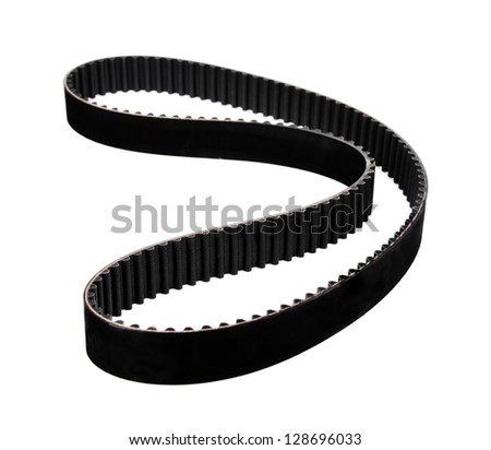 belt car engine isolated white background.Automobile spare part - stock photo