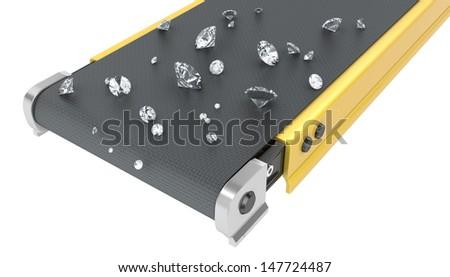 Belt conveyor with diamonds isolated on white background - stock photo