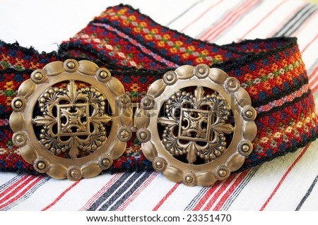 Belt, part of Serbian folk costume - stock photo