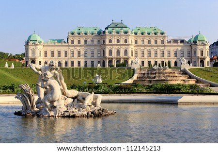 Belvedere Palace fountain and garden, Vienna, Austria. - stock photo