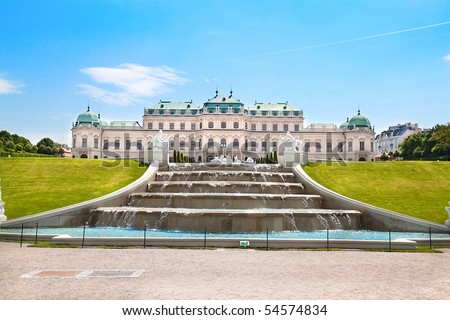 Belvedere Palace with fountain and beautiful garden ,Vienna, Austria - stock photo