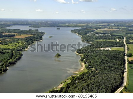Belwood Lake, southern Ontario; aerial - stock photo