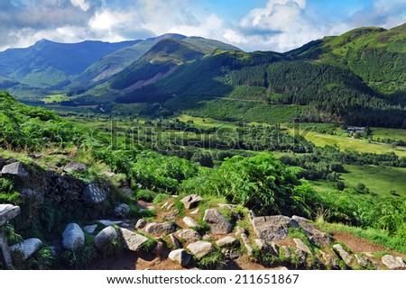 Ben Nevis mountains valley - stock photo