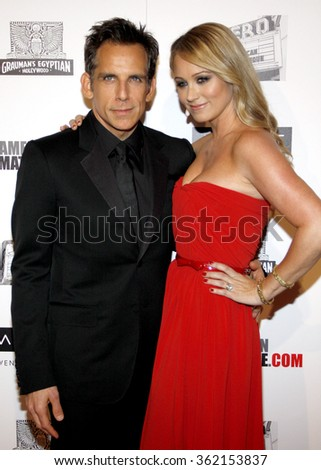 Ben Stiller and Christine Taylor at the 26th American Cinematheque Award Honoring Ben Stiller held at the Beverly Hilton Hotel in Los Angeles, California, United States on November 15, 2012.   - stock photo