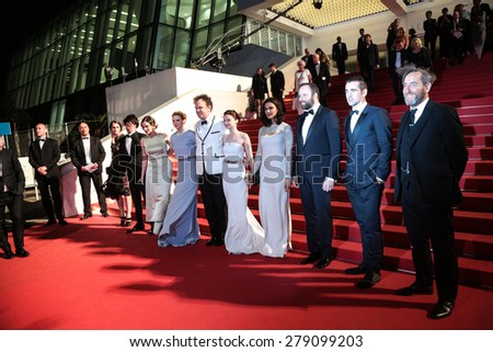 Ben Wishaw, A. Papulia L. Seydoux, J. C. Reilly, J. Barden, R.Weisz,Yorgos Lanthimos Colin Farell at the Premiere of 'The Lobster' , 68th annual Cannes Film Festival on May 15, 2015 in Cannes, France. - stock photo