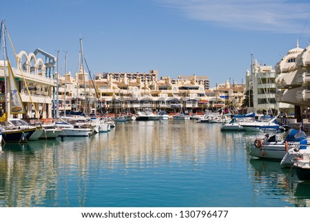 BENALMADENA, SPAIN - APRIL 09: A view of Puerto Marina on April 09, 2012 in Benalmadena, Malaga, Spain. This marina has berths for 1100 boats. It was opened on 1987. - stock photo