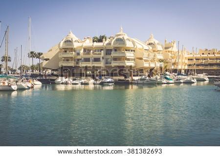BENALMADENA, SPAIN - MAY 5,2013: view of Puerto Marina in Benalmadena,Costa del Sol Malaga, Spain. This marina has berths for 1100 boats. It was opened on 1987. - stock photo