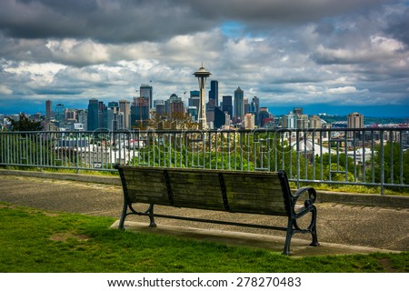 Bench and view of the downtown Seattle skyline, in Seattle, Washington. - stock photo