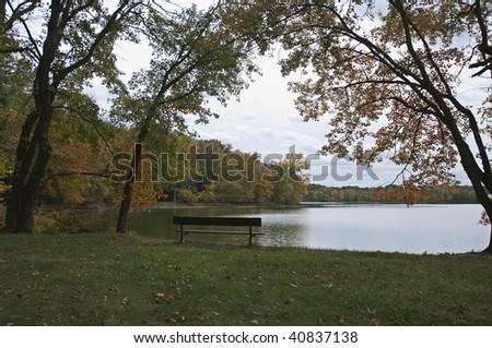 Bench at Rockland Lake - stock photo