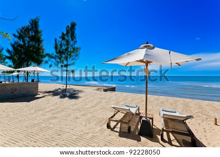 bench beach - stock photo