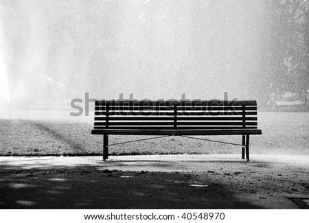 Bench in a park. Black and white concept. - stock photo
