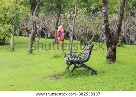 bench in the Queen Sirikit Park, Bangkok - stock photo