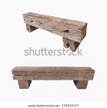 Bench made of old railroad ties isolated on white background - stock photo