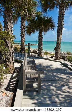 Bench on a Palm Tree lined Wooden Boardwalk leading to the Beach - stock photo