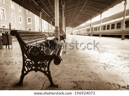 bench on Sirkeci railway station near center of Istanbul, Turkey - stock photo