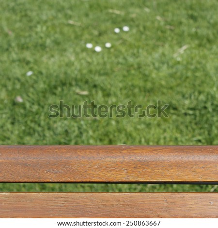 bench over green lawn - stock photo