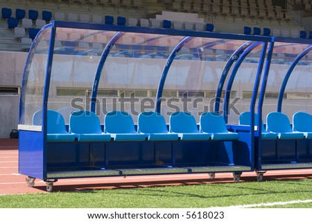 bench soccer and launching slips to the bottom - stock photo