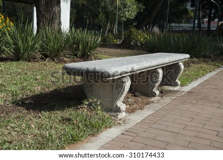 bench, stone, garden, park, chair, seat, decorative, design, antique, concrete, green, white, old, leaf, outdoor, outside, rest, sit, bush, nature, table, clipping, granite, vintage, spring, grass - stock photo