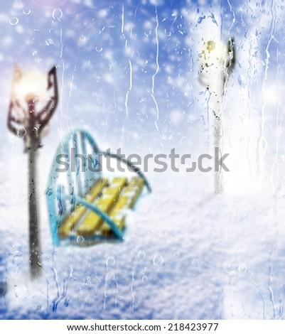 Bench. winter - stock photo