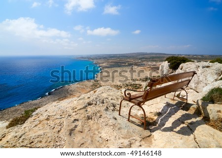 Bench with a view over Mediterranean Sea. Cape Greco, Northern Cyprus - stock photo
