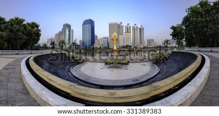 Benchakitti Park  Panorama Bangkok city ,Thailand. - stock photo