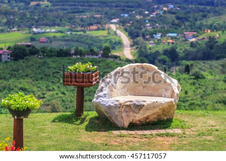Benches made of stone - stock photo