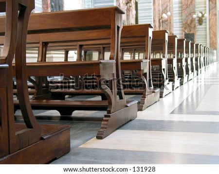 Benches pattern at an italian church - stock photo