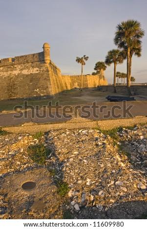 Benchmark found in St. Augustine, Florida. - stock photo
