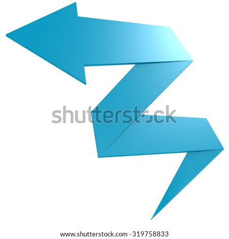Bend blue arrow image with hi-res rendered artwork that could be used for any graphic design. - stock photo