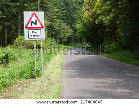 Bend in Road sign, England - stock photo