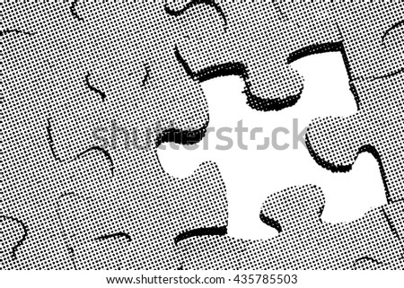 Benday dot illustration of a jigsaw puzzle with one missing piece.    - stock photo