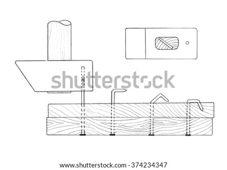 Bending of nails through holes drilled in gavel. Sketch - stock photo