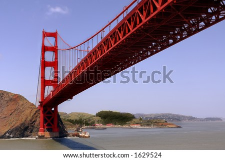 beneath the golden gate bridge - stock photo
